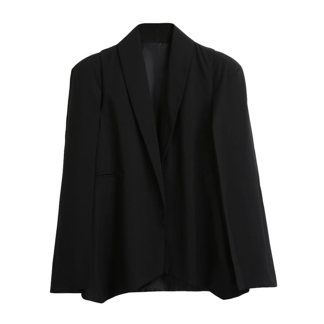 Fashion Cloak Cape Blazer Women Coat Black Lapel Split Long Sleeve Outerwear Pockets Solid Casual Suit Jacket Workwear XL