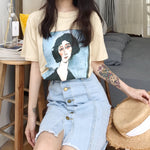 New Fashion Character Photo Printed Vintage Loose Casual Cotton Short Sleeve Female T-shirts