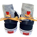 Fashion New Designed  Love Embroidery Socks Women Cotton Straps Socks Floor Heap Socks with Champagne Bandage