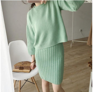 Autumn womens new style Korean fashion casual elegant slim o-neck flare sleeve three quarter solid grey two piece set