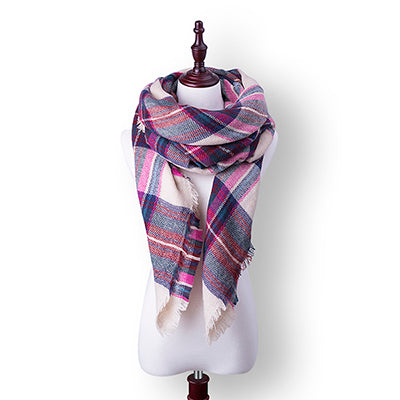 Fashion Plaid Winter Scarf For Women Thick Triangle Scarves Female Winter Accessories Ladies Warm Scarf 140*140*210cm