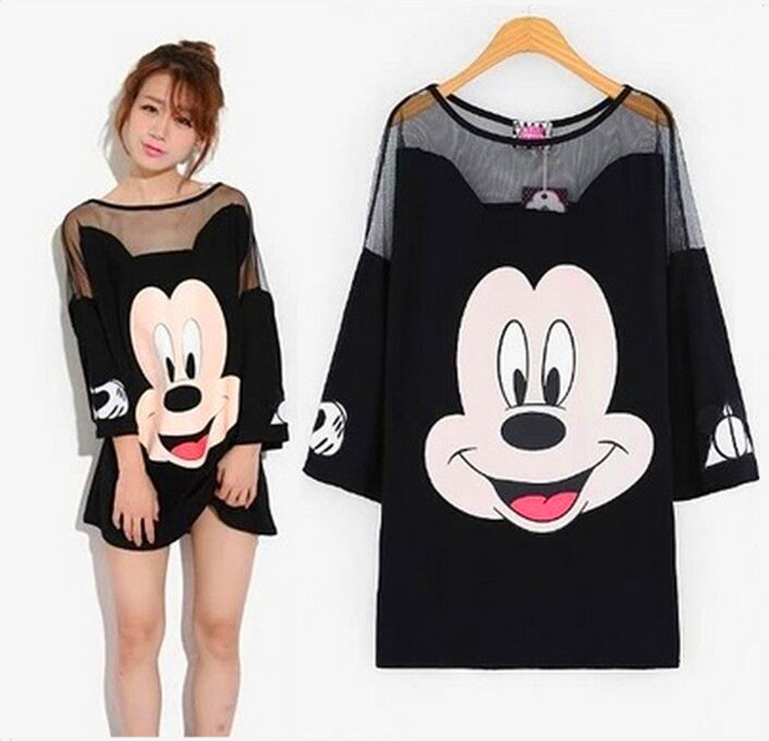 Summer women net yarn splicing long t shirt sexy loose Mickey cartoon t-shirts three quarter sleeve t-shirt female tops tee