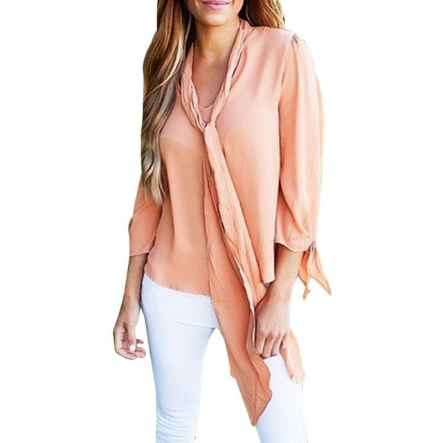Elegant Solid Shirt Women Blouse Casual Long Sleeve Tops