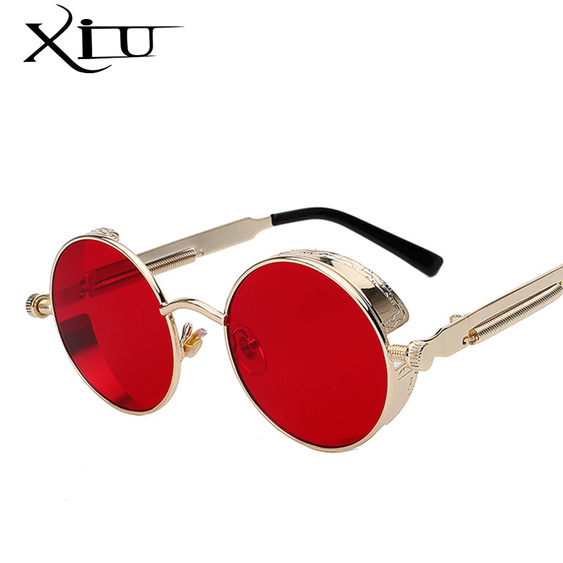 Round Metal Sunglasses Steampunk Women Fashion Glasses Brand Designer Retro Vintage Sunglasses UV400