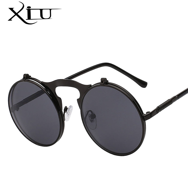 XIU Flip Up Steampunk Sunglasses Round Vintage Sunglass Brand Designer Fashion Glasses UV400