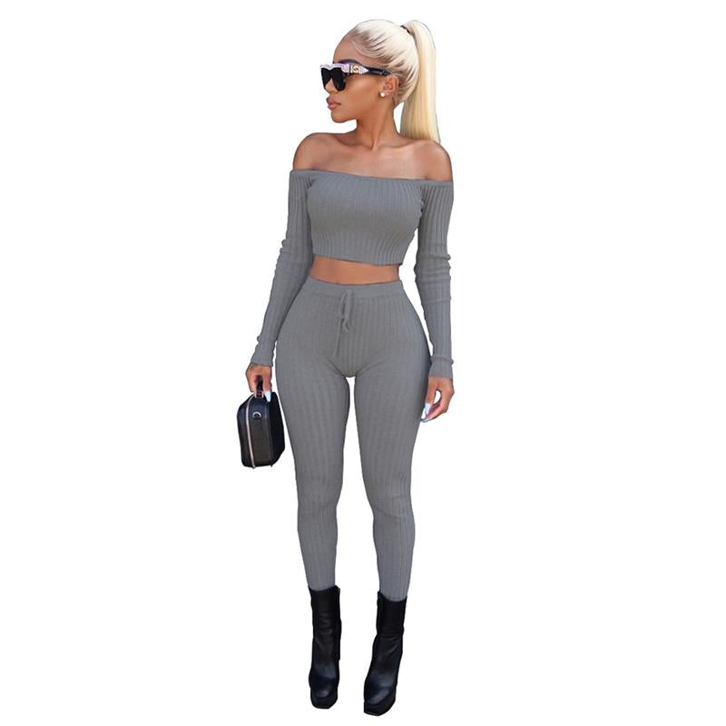 Fashion 2 Piece Set Women Off Shoulder Crop Top And Long Pants Suit Ladies Sexy Leisure Two Piece Tracksuit WS3442C