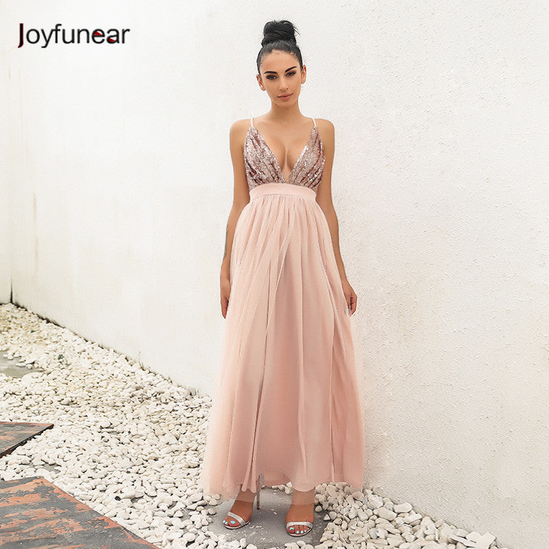 new  pink color stitching perspective gauze loose  sequin deep  V strap  women  mesh dress  vestidos