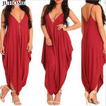Vintage Casual sexy party red Rompers Women Sleeveless Wide Leg Overalls Summer style Long Harem Pants Plus Size Jumpsuits