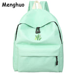 Menghuo 2017 Cactus Embroidery Simple Canvas Backpack Students School Bag Women Girl Rucksack Mochila Escolar Women Backpack