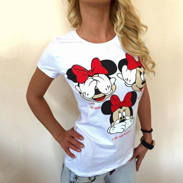 New Fashion Summer Shirt Sexy Ladies Leisure Loose Women Mickey Pattern Print T-shirt Plus Size Round Neck Female Tee Tops
