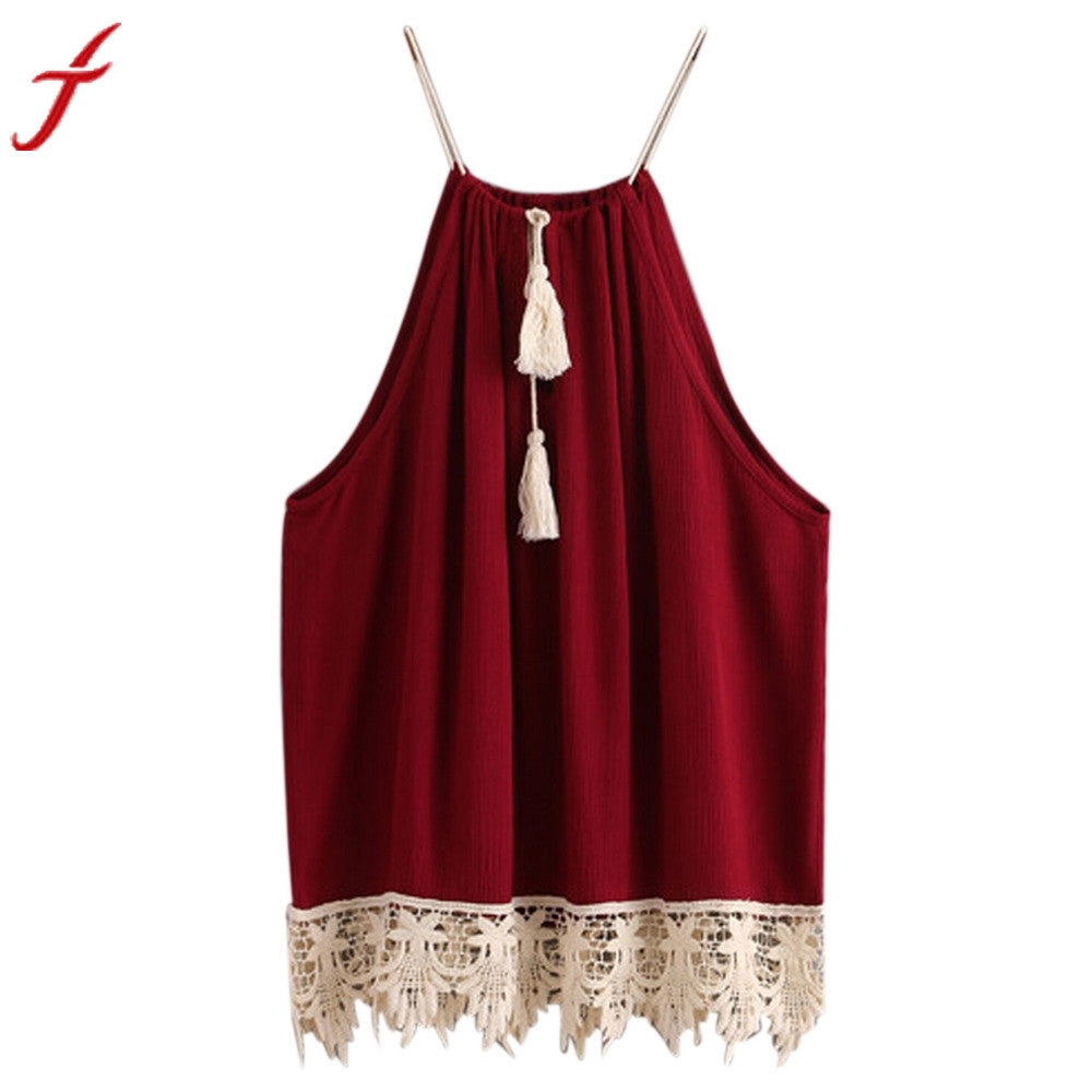 New Arrival Fashion Women Lace Trimmed Tasselled Drawstring Blouse Wine Red Tops shirt Sleeveless Patchwork blusa feminina