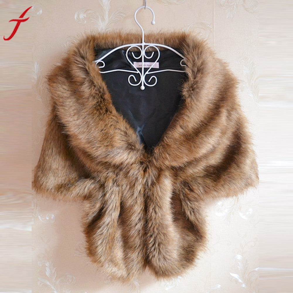 Fashion Elegant Warm Women Bridal Faux Fur Wrap