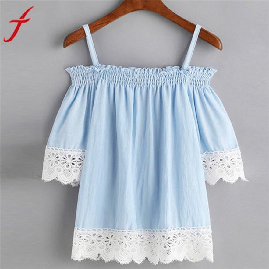 Summer Blouse Women Off Shoulder Camis Top Short Sleeve Casual Slash neck Blue Lace Shirt  New Sexy Blusas