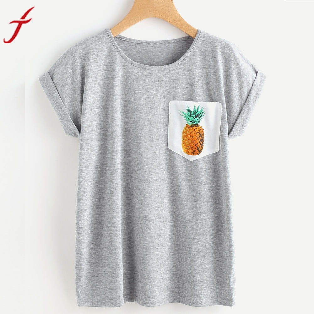 New Arrival Pineapple Print tshirts Cotton Women Pocket Blusa Short Sleeve O-Neck Tops Simple Tops Camisetas Femininas