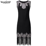 Stretchy Little Black Dress Women's 1920s Vintage Fringe Embellished Sequin Beaded Flapper Dress Gatsby Tunic Top Shift Dress