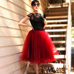 7 Layers Midi Tulle Skirts Womens Fashion TUTU Skirt Elegant Wedding Bridal Bridesmaid Skirt Wedding Lolita Underskirt Petticoat