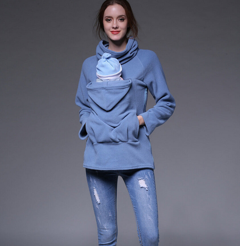 Fashion Women Maternity Kangaroo Hooded Baby Carriers Sweatshirts Hoodies Jacket Coat