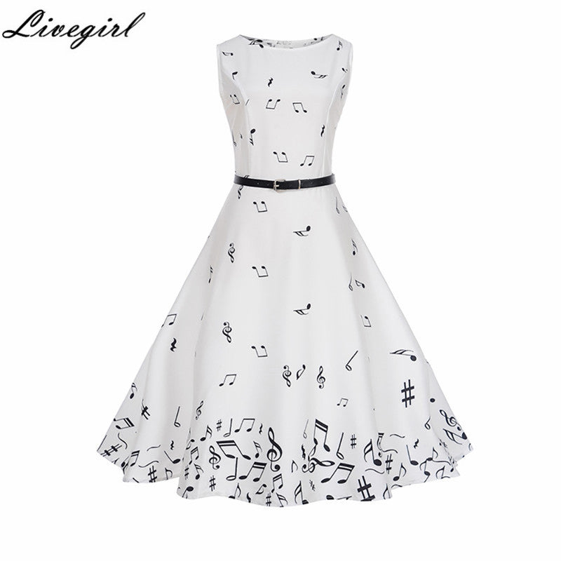 Women Summer Music Note Printing Dress Audrey hepburn Robe Retro Swing Casual Vintage Sleeveless O-Neck Swing Dresses Vestidos
