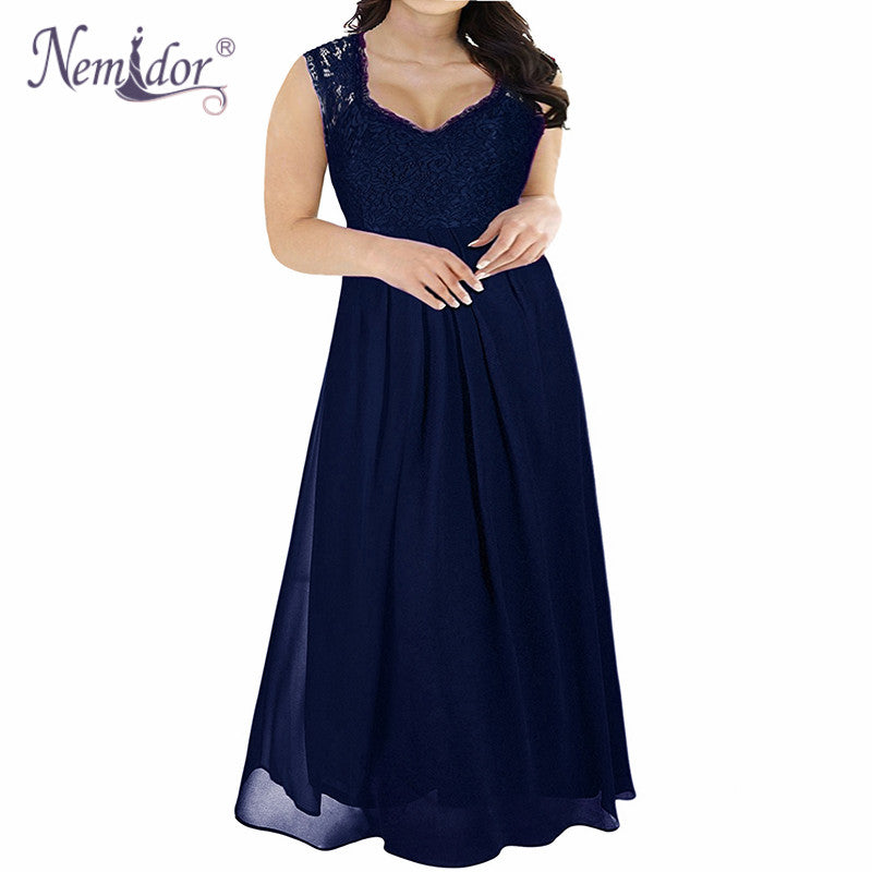 Nemidor High Quality Women V-neck Chiffon Lace Patchwork Party Dress Plus Size 7XL 8XL 9XL Sleeveless Vintage Long Maxi Dress