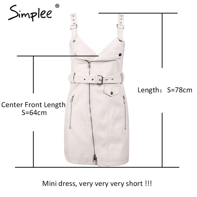 Simplee Fashion PU leather dress women V neck mini sexy dress Christmas sash zipper winter black short dress sundress vestido