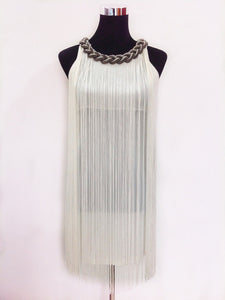 Great Gatsby Ombre Metal Chain Halter Black 1920s Fringe Flapper Charleston Dress Robe Sexy Party Bodycon Club Dress Vestido