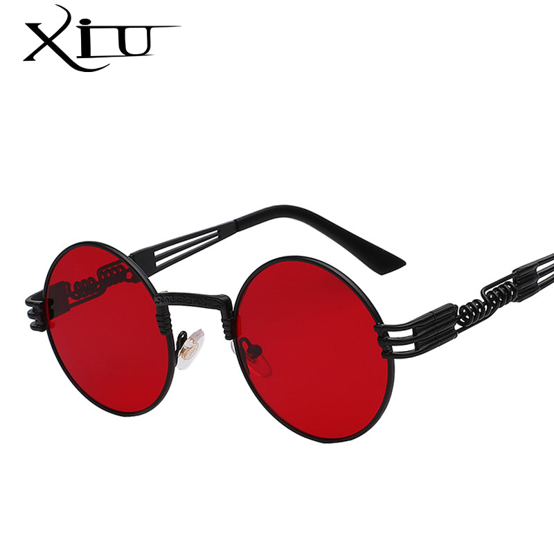 Luxury Metal Sunglasses Men Round Sunglass Steampunk Coating Glasses Vintage Retro Lentes Oculos of Male Sun