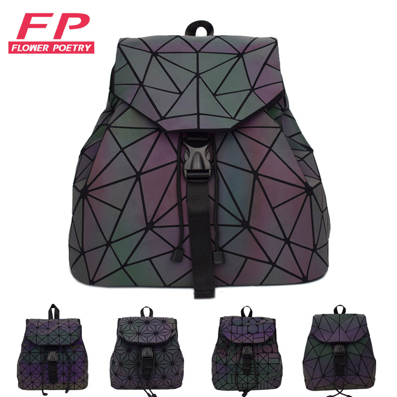 Women Laser Luminous Backpack Mini Geometric Shoulder Bag Folding Student School Bags For Teenage Girl Hologram Bao Backpack