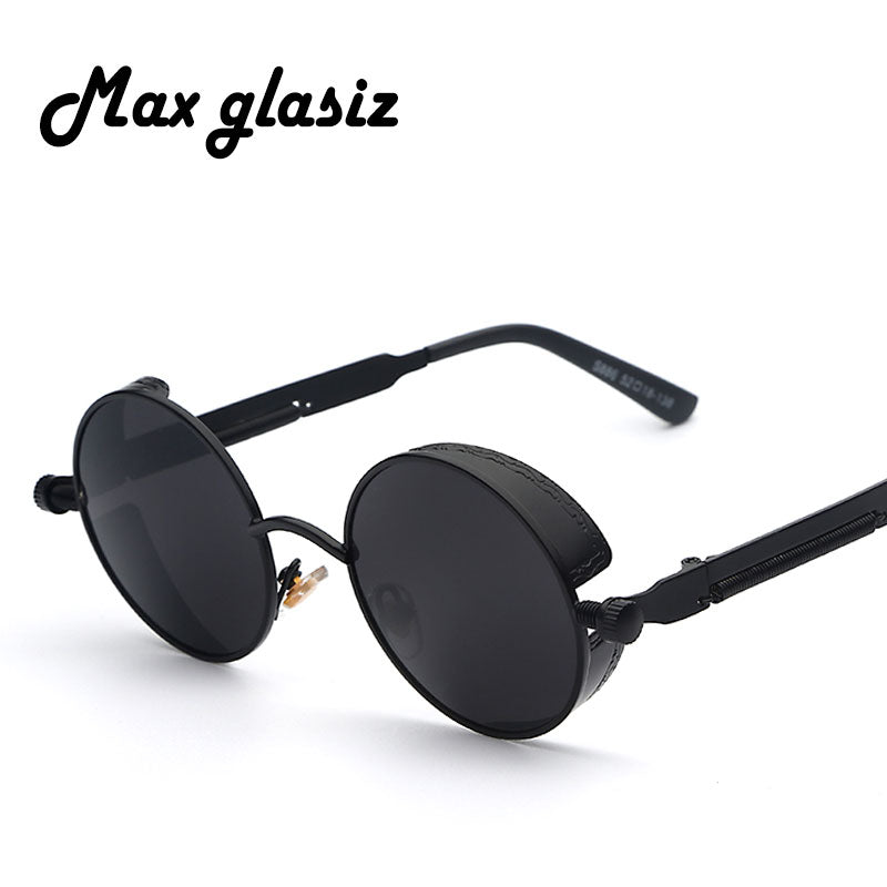 Maxglasiz Brand new 2018 Mirror Lens Round Glasses Goggles Steampunk Sunglasses Vintage Retro women Hisper Eyewear