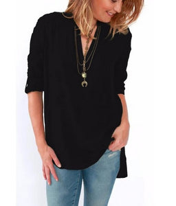 2018 New Summer Ladies T Shirts Fashion Plus Size Women Clothing Casual Loose Long Sleeve Irregular Long Chiffon T-Shirt 4XL 5XL