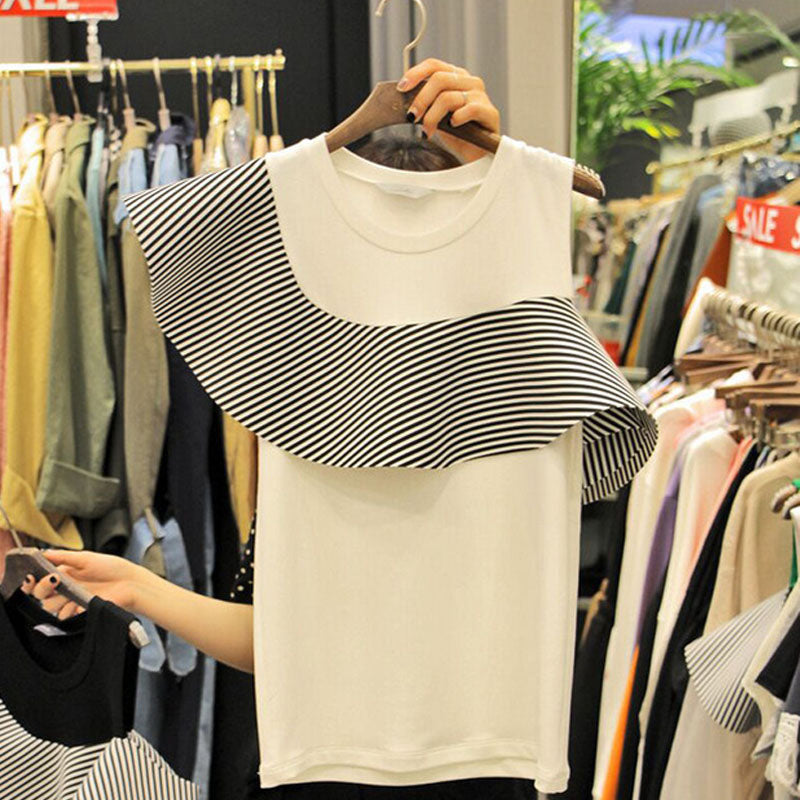 Summer New Short Sleeve T Shirts for Women Fashion Striped Ruffles Tshirt Female  Casual Korean Version T Shirt Ladies Tops