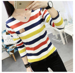 2018 korean new spring female T-shirt fashion long sleeve colorful stripe t shirt women kawaii student t-shirt casual women tops