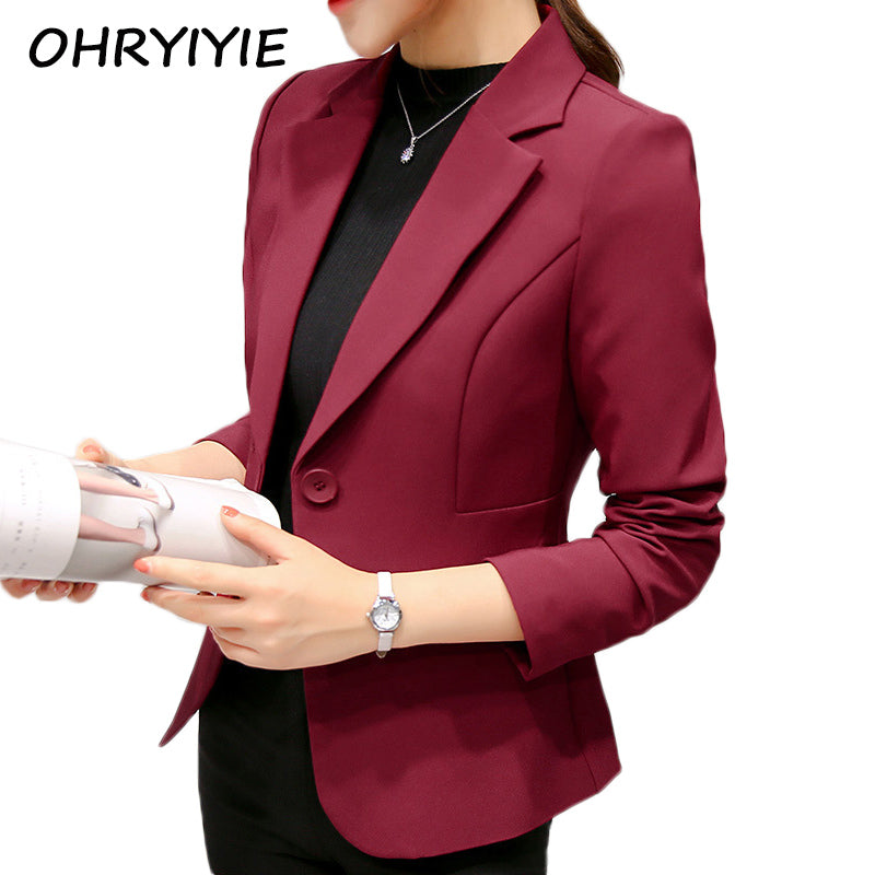 OHRYIYIE Red/Blue Women's Blazers And Jackets Suit 2018 New Spring Autumn Single Button Ladies Blazers Women Office Tops Coats