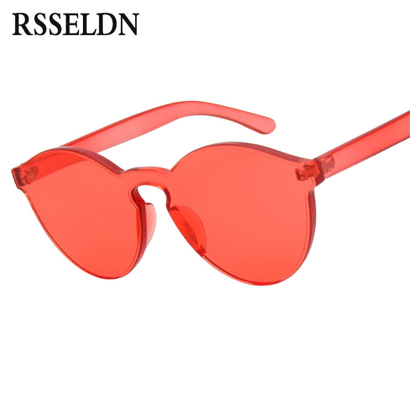 RSSELDN New One Piece Lens Sunglasses Women Transparent Plastic Glasses Style Sun Glasses Clear Candy Color Brand Designer