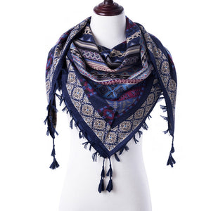 2018 Fashion Tassel Scarf Winter Scarf For Women Square Scaves Warm Girls Shawl Tassel Printed Wraps Women Thick Female Scarf