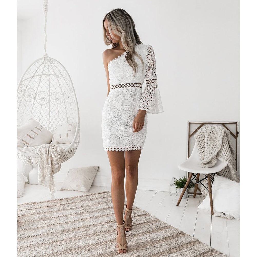 Sexy Women White Lace Dress New 2018 Summer One Shoulder Hollow Out Ladies Party Club Dresses Flare Sleeve Robe Vestidos Female