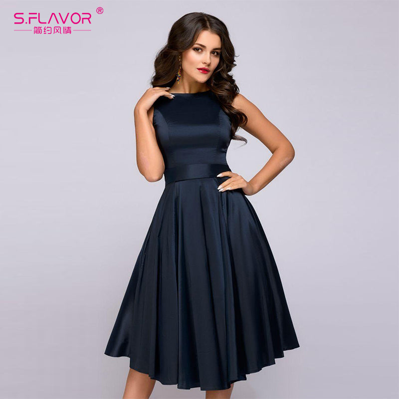 S.FLAVOR vintage style knee-length dress 2018 Summer fashion sleeveless elegant A-line vestidos with belt party short dress