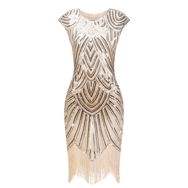 Vintage 1920s Flapper Great Gatsby Dress O-Neck Cap Sleeve Sequin Fringe Party Midi Dress 2018 Summer Fancy Costumes