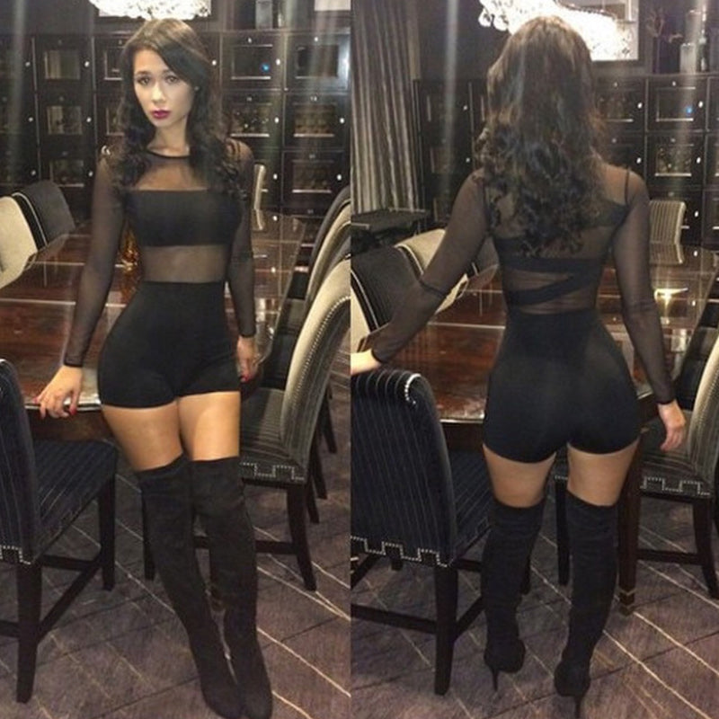 2018 Sexy Women Bandage Jumpsuit Mesh Lace O Neck Long Sleeve Catsuit Club Bodycon Short Rompers Bodysuit Semi Sheer Outfits