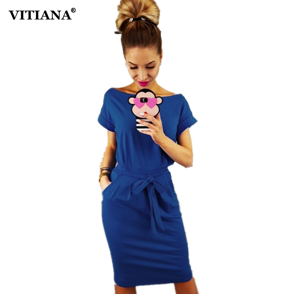 VITIANA Women Loose Casual Pencil Dress Female 2018 Summer Black Short Sleeve Knee-length Elegant Belt Midi Office Dresses
