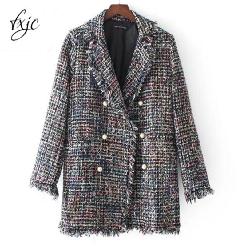 2018 Autumn Pearl Button Jacket Hairy Colorful Knitted Turn Down Collar Coat Long Style Outwear Wool Blends Tops