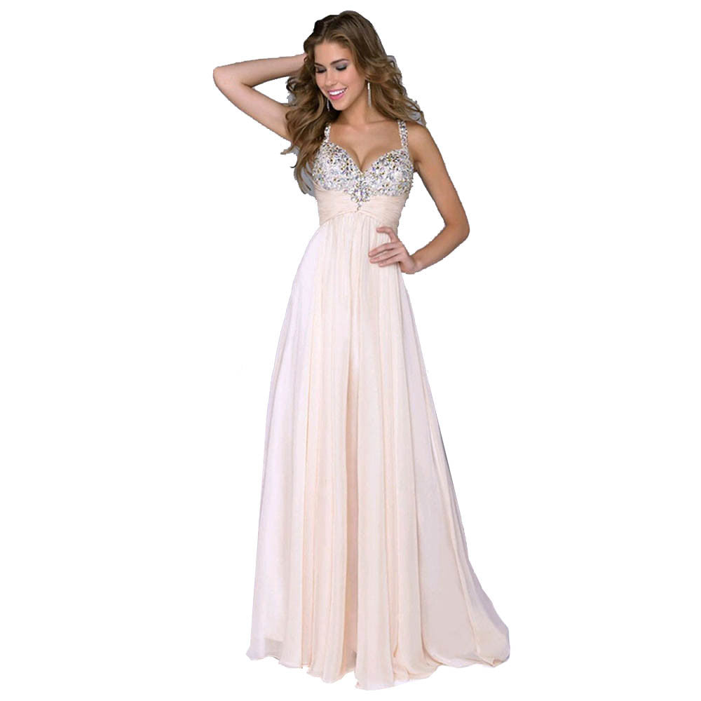 2018 Women's Fashion Formal Long Sexy Spaghetti Strap V-Neck Evening Party Prom Boho Sleeveless Chiffon Dress