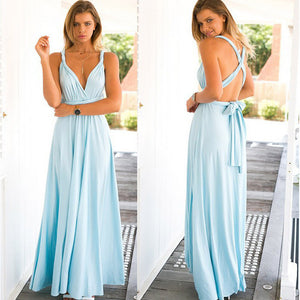 Women Convertible Multiway Wrap Maxi Convertible Dress Backless Sexy Beach Sundress Bridesmaid Party Dresses Bandage Bodycon Long Prom Gown