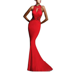 2018 Sexy Sleeveless Lady Dress Wedding Bridesmaid Long Formal Party Backless Lace Dress Mermaid Party Dress Vestidos Robe