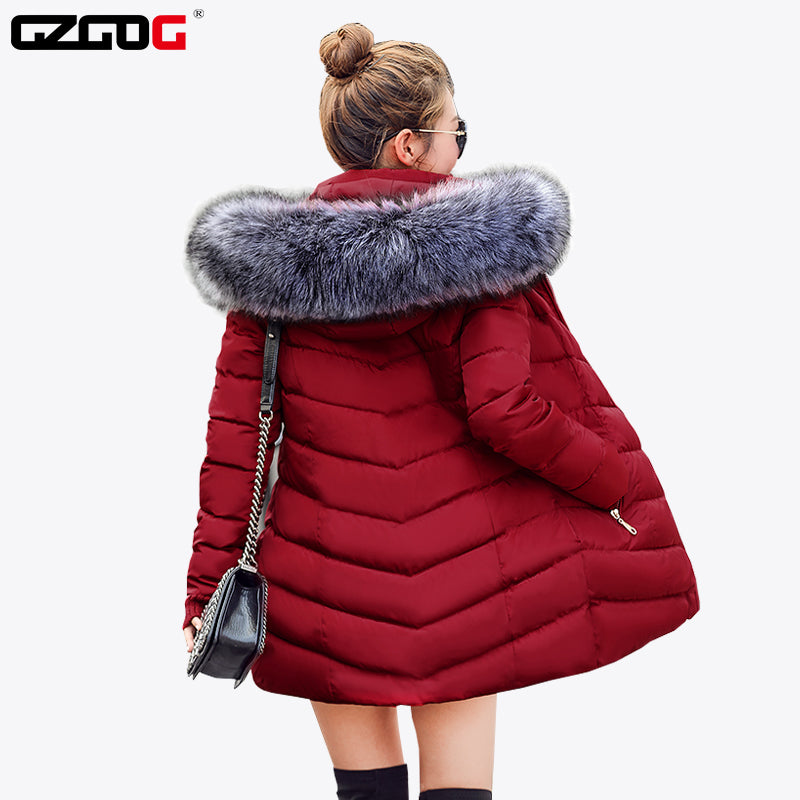 New 2018 Winter Jacket Women Coats Artificial raccoon hair collar Female Parka black Thick Cotton Padded Lining Ladies  S-3XXXL