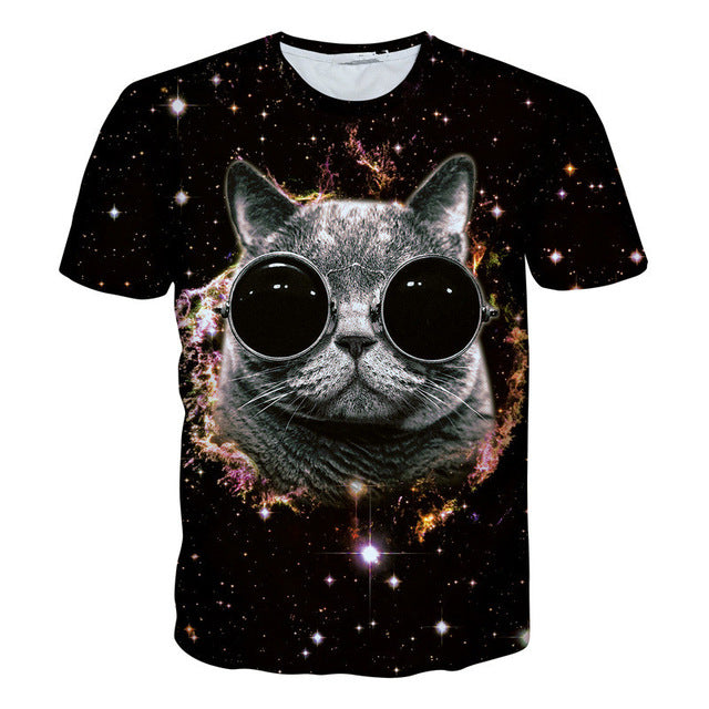 2018 NEW Surprised cats t-shirt fluffy cuddly terrified cat faces awesome t shirt women men 3d summer tee shirt camisas mujer