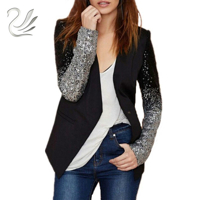 Women Coat 2018 Fashion Formal Blazers Suit Spring Long Sleeve Lapel Gradient Patchwork Black Silver Bling Sequined Lady Clothe