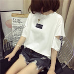 2018 news style girls wear summer casual fashion brand Korean harajuku women tops half sleeve letter loose hollow out t shirt