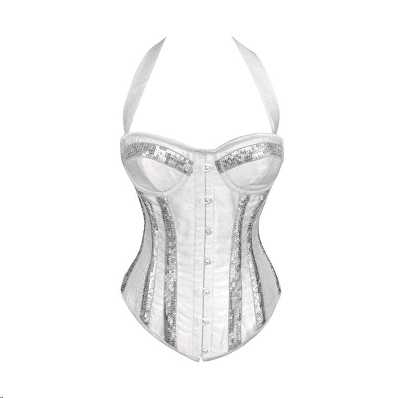 Topmelon Sexy Women Shiny Gothic Halter neck Bustier Corset Black White Red 661