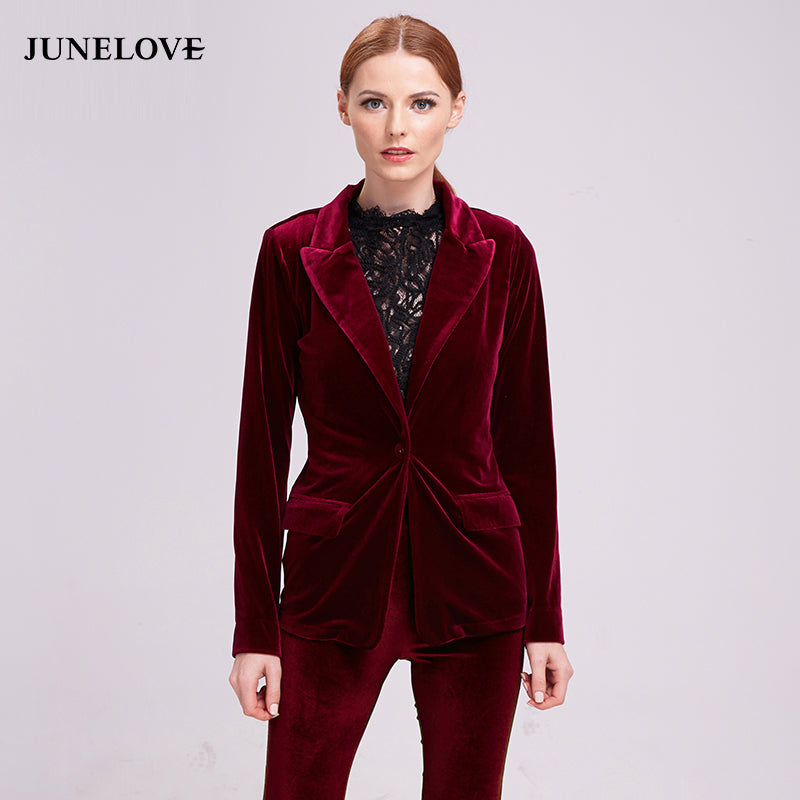 JuneLove 2018 Fashion Velvet Blazer Jacket Women Blazer Autumn Warm Ladies Blazer Coat One Button Turn-down Collar Outwears