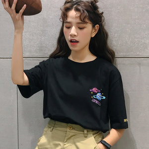 2018 Halajuku Cotton Planet Printed Letter Embroidered Loose Causal Short Sleeve Female T-shirts